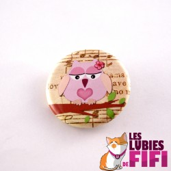 Badge hibou : hibou rose