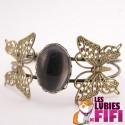 Bracelet personnalisé ovale bronze avec papillons