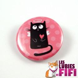 Badge chat : chat noir petit ange, version rose