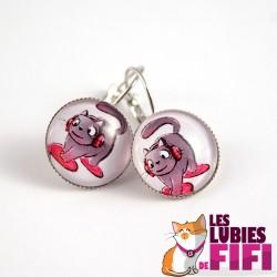 Boucle d'oreille chat : Lucio le chat DJ