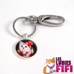 Porte-clé chat : le chat et son chapeau rouge