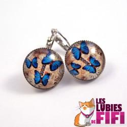 Boucles d'oreille papillon : Papillons Bleus