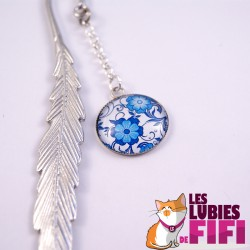 Marque-page fleurs : fleurs bleues