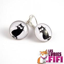 Boucle d'oreille chat : chat noir