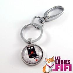 Porte-clé chat : chat noir, petit diable