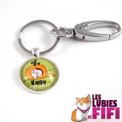 Porte-clé chat : Mrou le chat et sa citrouille
