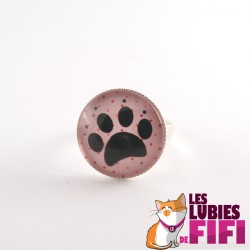 Bague chat : Patte de Chat sur fond rose