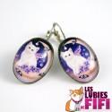 Boucle d'oreille chat :  le chat et la lune