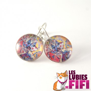 Boucle d'oreille chat :  chat multicolore Brunsperger