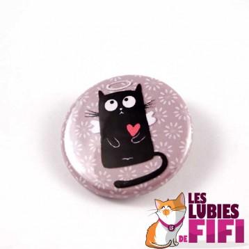 Badge chat : Chat noir petit ange