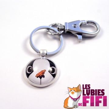Porte clé chat : le chat et son papillon