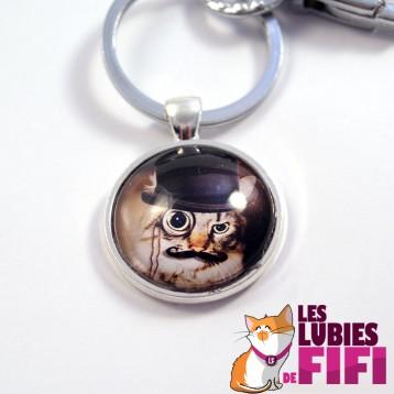 Porte clé chat steampunk : le chat et son monocle