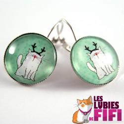 Boucle d'oreille chat :  Mrou le chat version Renne de Noël