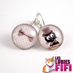 Boucle d'oreille chat :  Gentleman Cat