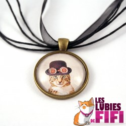 Collier chat steampunk : le chat et son chapeau melon