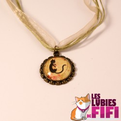 Collier chat : chat noir vintage