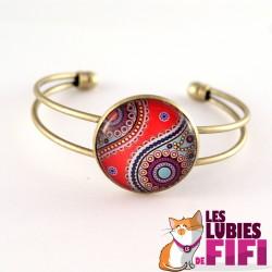 Bracelet : hindou sur fond rose