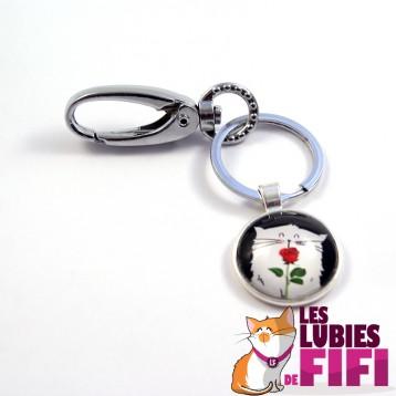 Porte-clé chat : Mrou le chat et sa rose