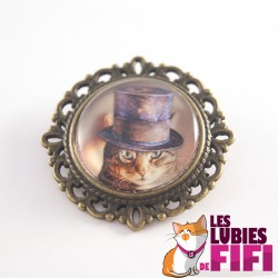 Broche chat steampunk : chat et son monocle