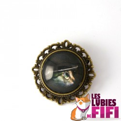 Broche chat steampunk : chat et son chapeau bleu