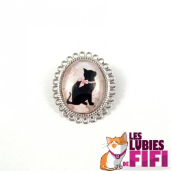 Broche chat : pattes de chat version yin and yang