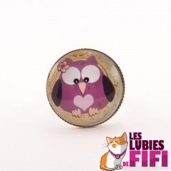 Bague hibou : hibou violet avec coeur rose
