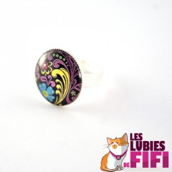 Bague kokeshi  : washi doll n°09