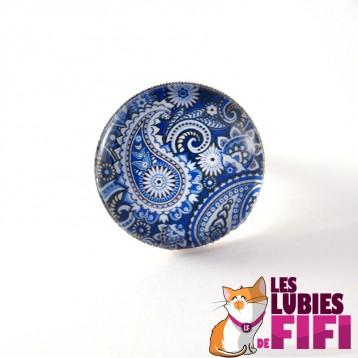 Bague fleurs : composition florale bleue