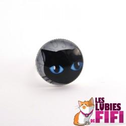 Bague chat : chat noir aux yeux bleus