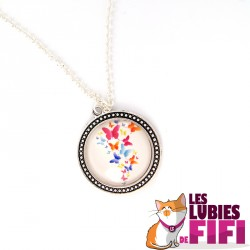 Collier papillon : papillons multicolores