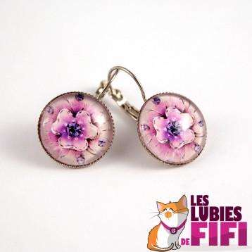 Boucle d'oreille chat : Mrou le chat et sa rose