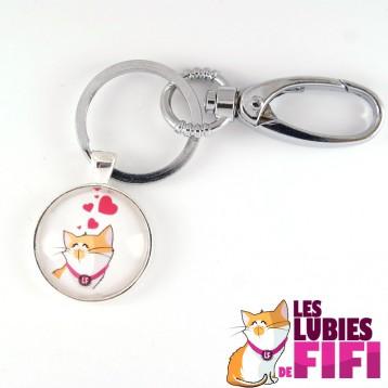 Porte-clé chat : les lubies de fifi coeurs