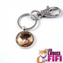 Porte-clé chat steampunk : le british steampunk