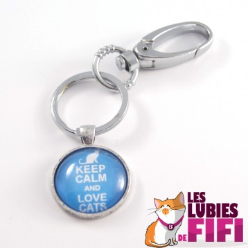 Porte-clé chat : Keep calm and love cats version bleue
