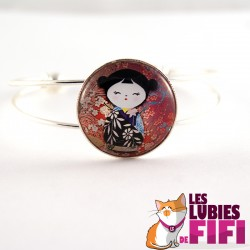 Bracelet kokeshi : Washi doll n°13
