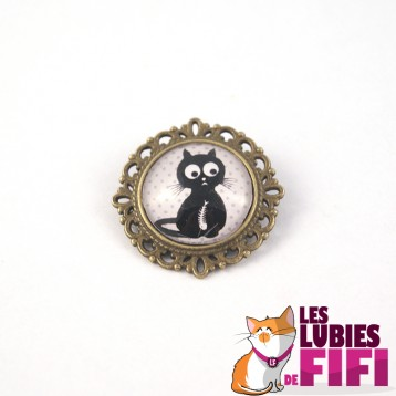 Broche chat : chat gourmand