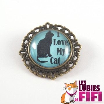 Broche chat : I love my Cat