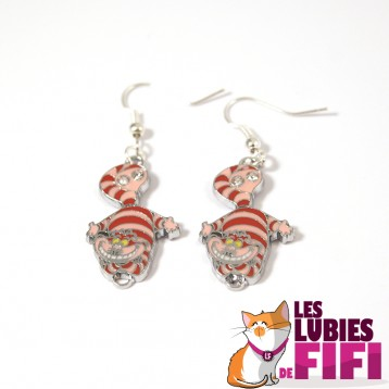 Boucle d'oreille Chat : Chat Cheshire rose