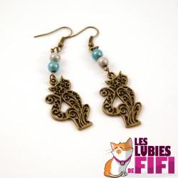 Boucle d'oreille Chat : Chat Bronze Effilé