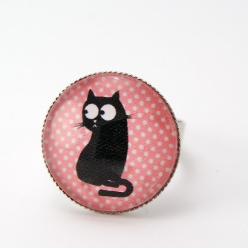 Bague cabochon collection chat : chat et poisson n°10