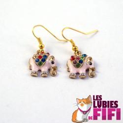 Boucles d'oreille : éléphant doré