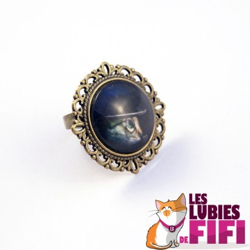 Bague chat steampunk : chat et son monocle