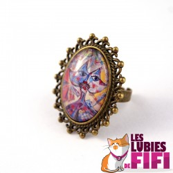 Bague chat : chat multicolore Brunsperger