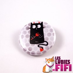 Badge chat : chat noir, petit diable