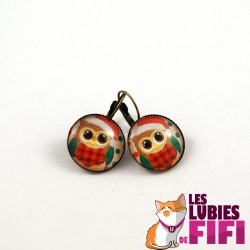 Boucles d'oreille hibou : hibou rose
