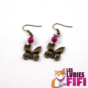 Boucles d'oreille papillon bronze et orange