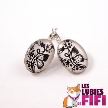 Boucles d'oreille papillon : Papillon noir et blanc