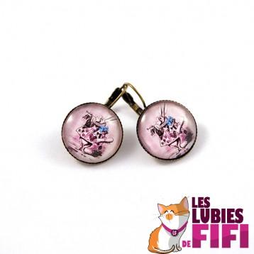 Boucles d'oreille vintage : lapin d'Alice