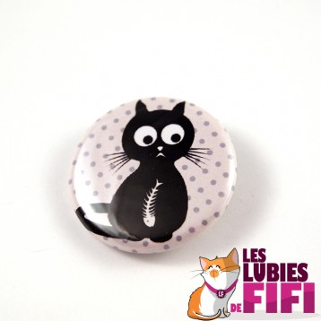 Badge chat : Chat noir coeur