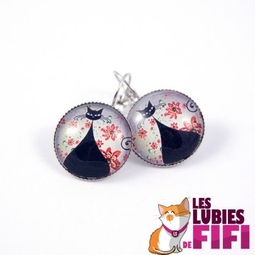 Boucle d'oreille chat : chat cheshire